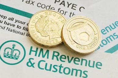 HMRC form and coins