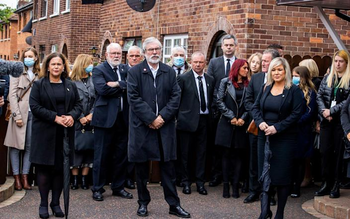 Sinn Fein leader Mary Lou McDonald, former Sinn Fein leader Gerry Adams, and Deputy First Minister Michelle O'Neill attending the funeral of senior Irish Republican and former leading IRA figure Bobby Storey - Liam McBurney/PA