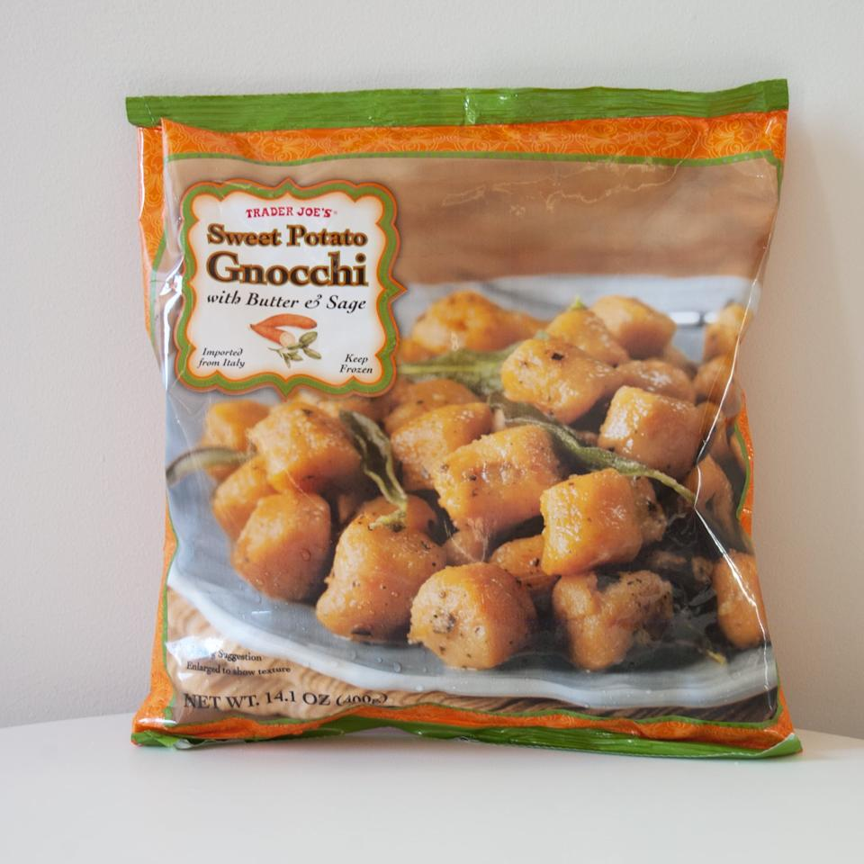 <p> The name of Trader Joe's Sweet Potato Gnocchi With Butter and Sage is enough to make us drool all over ourselves. The sweet potato is (debatably) more flavorful than regular gnocchi, and it's so easy to make! Pop it in the microwave or oven, and dinner is served. </p>