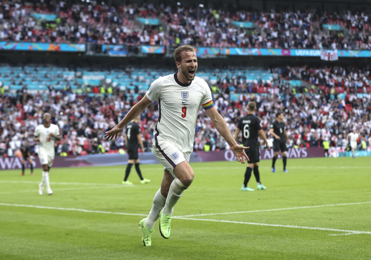 LONDON, ENGLAND - JUNE 29: Harry Kane of England celebrates after scoring his team's second goal during the UEFA Euro 2020 Championship Round of 16 match between England and Germany at Wembley Stadium on June 29, 2021 in London, England. (Photo by Eddie Keogh - The FA/The FA via Getty Images)