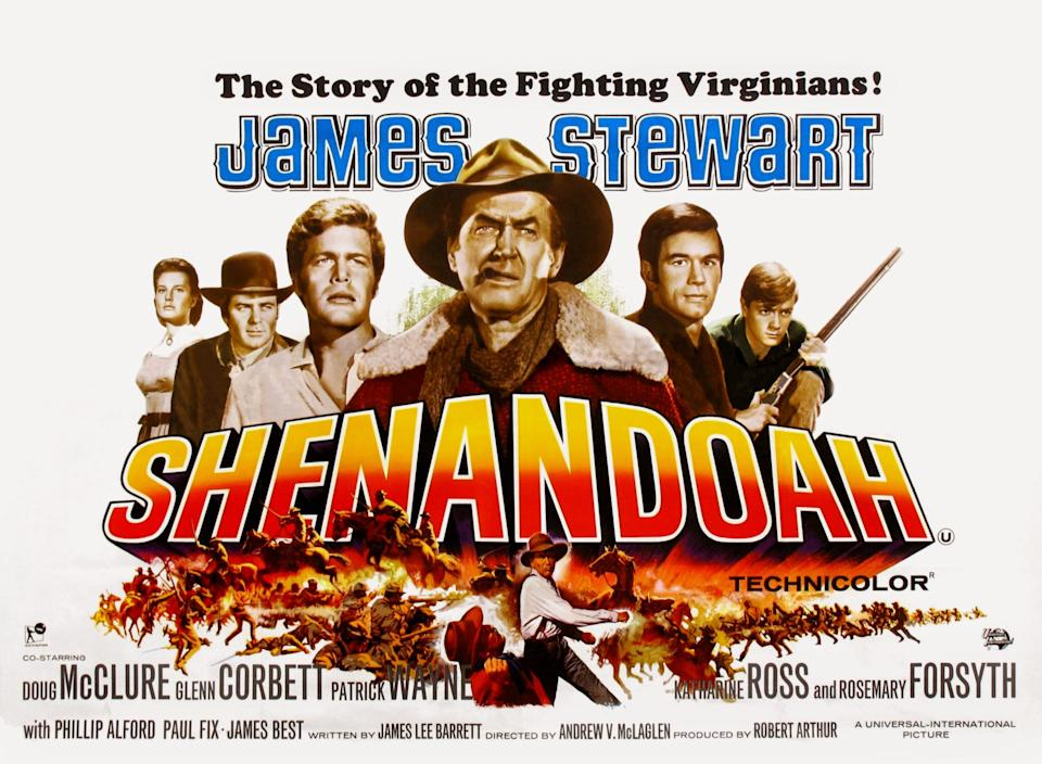 Shenandoah, poster, (from left): Rosemary Forsyth, Glenn Corbett, Doug McClure, James Stewart, Charles Robinson, Phillip Alford, 1965. (Photo by LMPC via Getty Images)