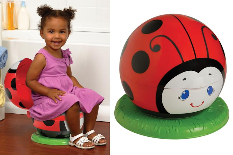 This product combo image released by Safety 1st shows the Little Lady Bug Potty Partner. For some parents, summertime is potty training time. And like so many aspects of life with kids, potty training means gear, lots of gear. The choices in potty seats and chairs proliferated and sprouted all manner of bells and whistles. (AP Photo/Safety 1st)