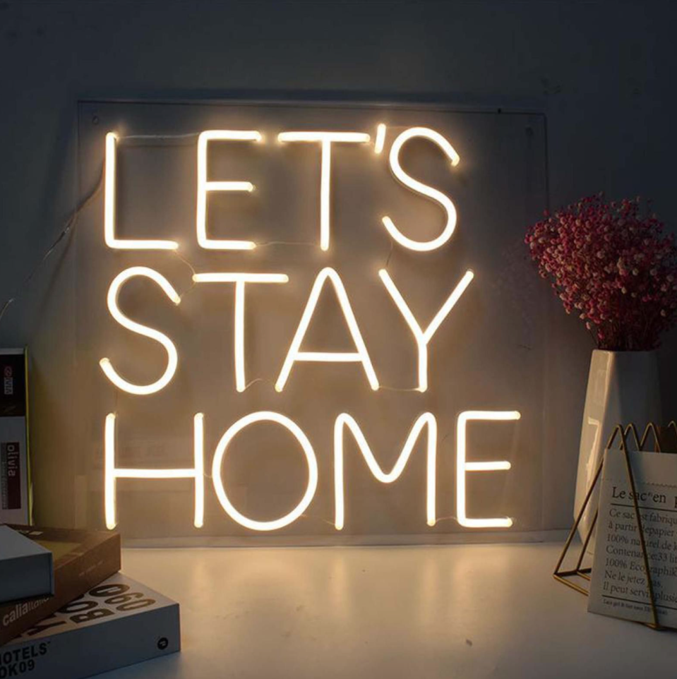 'Let's Stay Home' Neon Sign (Photo via Etsy)