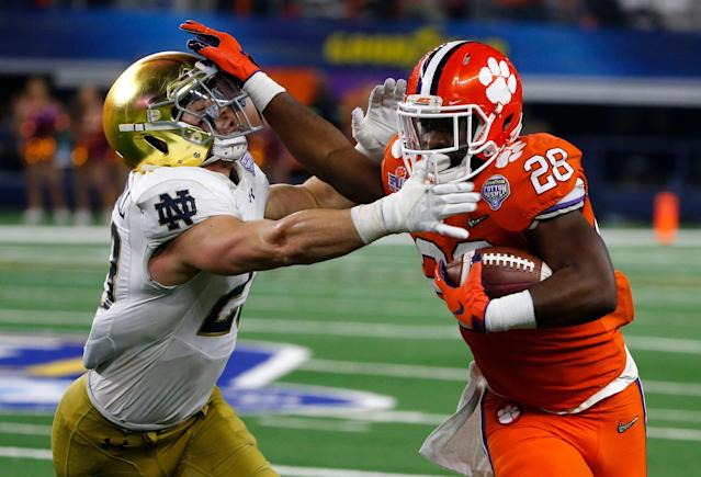 Clemson running back Tavien Feaster (28) could be a hot commodity in the transfer portal. (AP Photo/Michael Ainsworth)