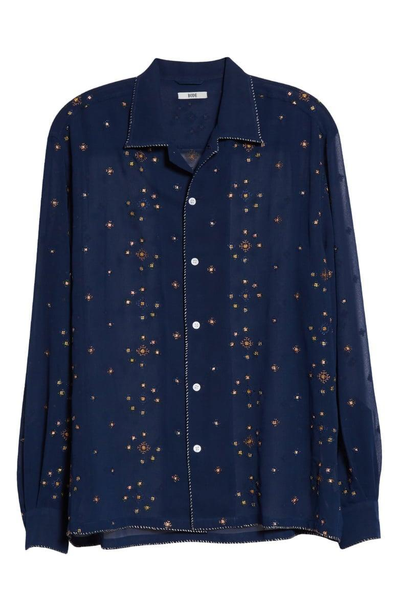 <p>We love the unique design of this <span>Bode Star Cross Stitch Button-Up Shirt</span> ($435).</p>