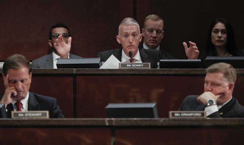 House Intelligence Committee member Rep. Trey Gowdy, R-S.C., center, questions former CIA Director John Brennan on Capitol Hill in Washington, Tuesday, May 23, 2017, during the committee's Russia Investigation Task Force hearing. Also at the hearing are Rep. Chris Stewart, R-Utah, left, and Rep. Rick Crawford, R-Ark. (Photo: Pablo Martinez Monsivais/AP)