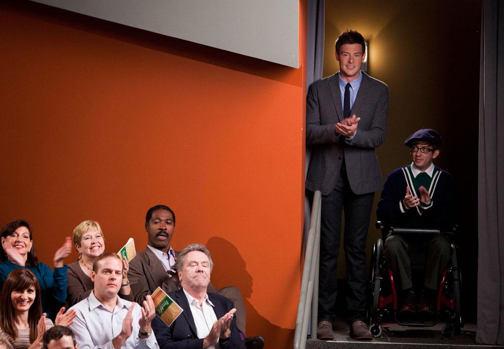 "Finn (Cory Monteith) and Artie (Kevin McHale) direct their  first musical together in the ""Glease"" episode of ""Glee."""
