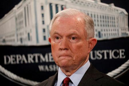 FILE PHOTO: U.S. Attorney General Jeff Sessions during a news conference at the Justice Department in Washington