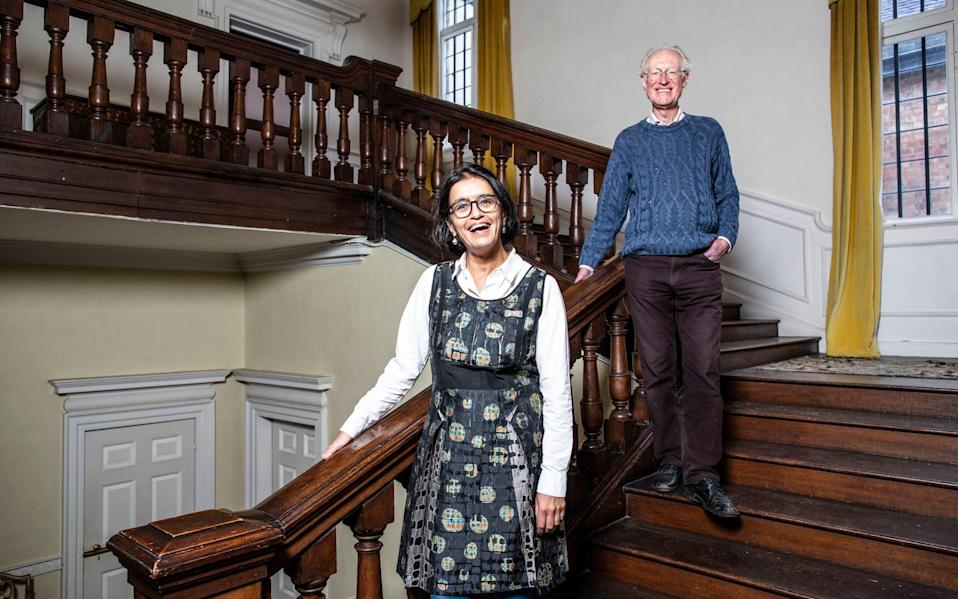 Innovation: Wasfi Kani and Bamber Gascoigne at his house West Horsley Place, to which Grange Park Opera migrated in 2017 - Jeff Gilbert
