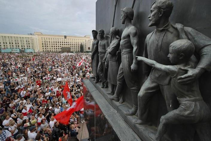 """Demonstrators have filled the streets of cities in Belarus for days to protest President Alexander Lukashenko's reelection in a process widely seen as fraudulent. <span class=""""copyright"""">(Dmitri Lovetsky / Associated Press)</span>"""