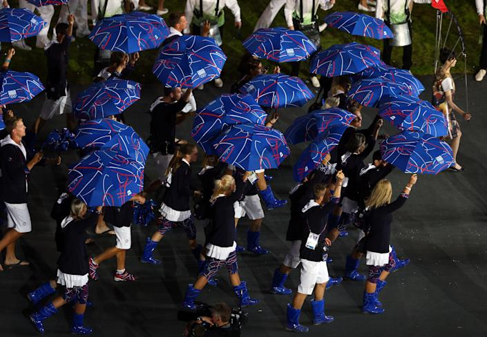 <b>Worst</b> <br> Patterned blue umbrellas with matching rain boots made a bold statement for the Czech Republic, but not necessarily a good one.