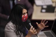 Florida Rep. Anna V. Eskamani speaks during a legislative session, Wednesday, April 28, 2021, at the Capitol in Tallahassee, Fla. (AP Photo/Wilfredo Lee)