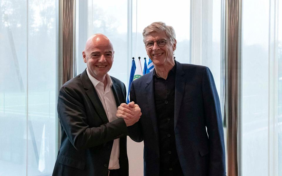 Arsene Wenger (picture with Fifa president Gianni Infantino) joined world football's governing body in 2019 - PA
