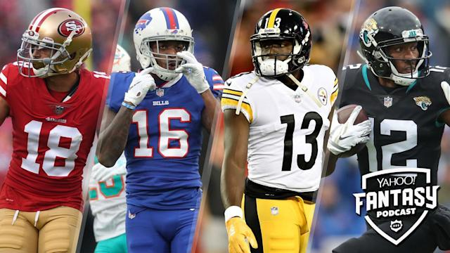 "Liz Loza & Matt Harmon discuss WR groups with uncertain hierarchies on the latest Yahoo Fantasy Football Podcast including the San Francisco 49ers, <a class=""link rapid-noclick-resp"" href=""/nfl/teams/buffalo/"" data-ylk=""slk:Buffalo Bills"">Buffalo Bills</a>, Pittsburgh Steelers and <a class=""link rapid-noclick-resp"" href=""/nfl/teams/jacksonville/"" data-ylk=""slk:Jacksonville Jaguars"">Jacksonville Jaguars</a> (Photo credits L to R: Cody Glenn/Icon Sportswire via Getty Images; Tom Szczerbowski/Getty Images; Roy K. Miller/Icon Sportswire via Getty Images; Tom Szczerbowski/Getty Images)"