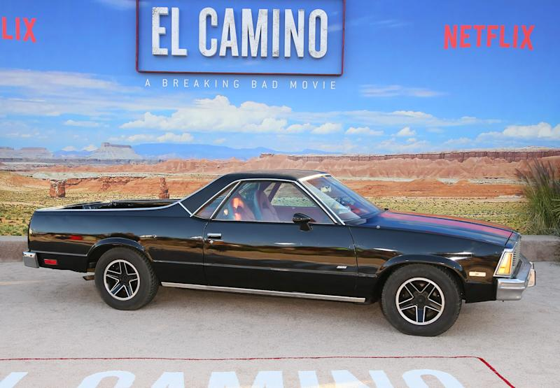 A Chevy El Camino on display at the premiere of Netflix's 'El Camino: A Breaking Bad Movie' at Regency Village Theatre in Westwood, California last month