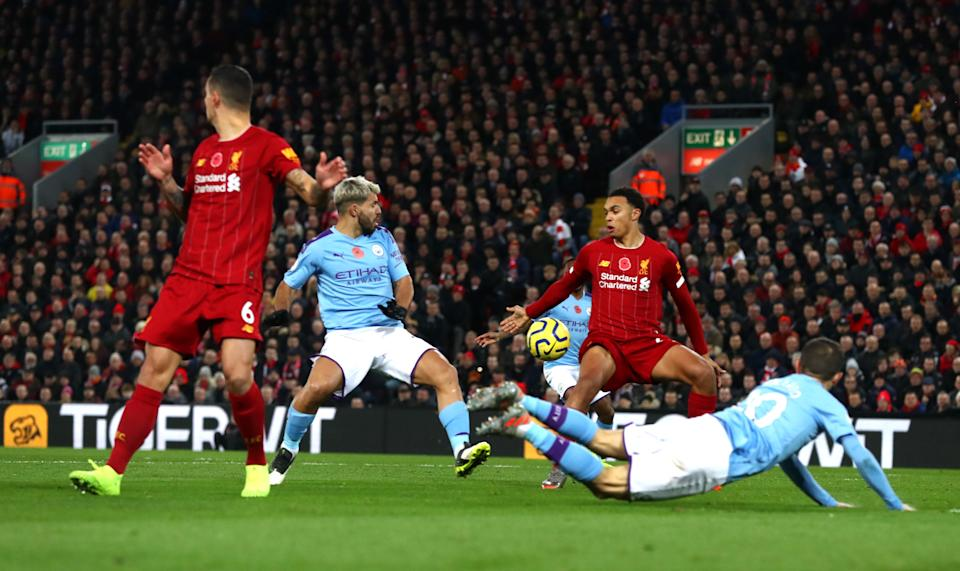 LIVERPOOL, ENGLAND - NOVEMBER 10: Trent Alexander-Arnold of Liverpool handles the ball during the Premier League match between Liverpool FC and Manchester City at Anfield on November 10, 2019 in Liverpool, United Kingdom. (Photo by Chloe Knott - Danehouse/Getty Images)