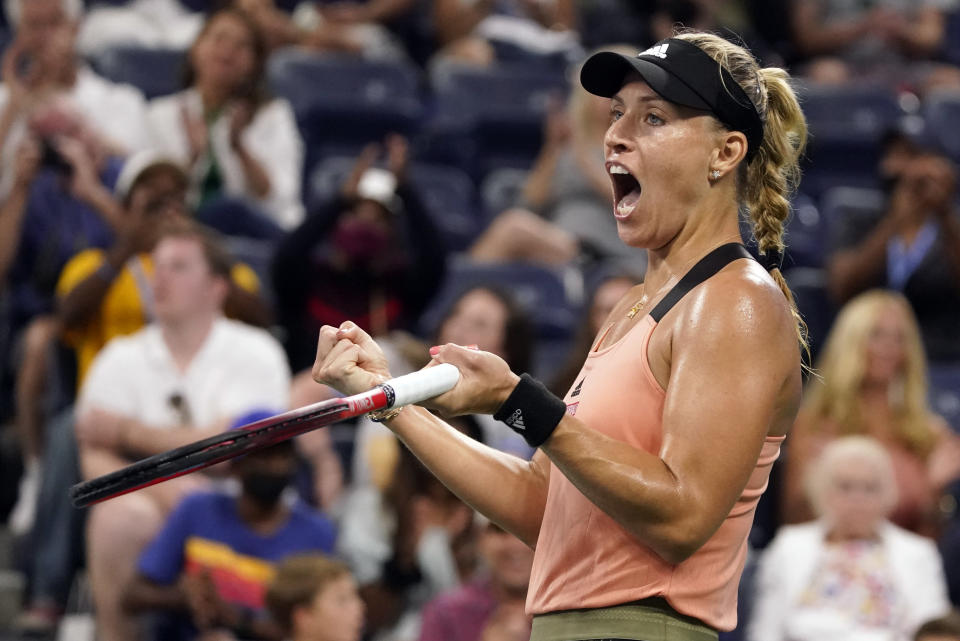 Angelique Kerber, of Germany, reacts after winning a point against Leylah Fernandez, of Canada, during the fourth round of the US Open tennis championships, Sunday, Sept. 5, 2021, in New York. (AP Photo/John Minchillo)