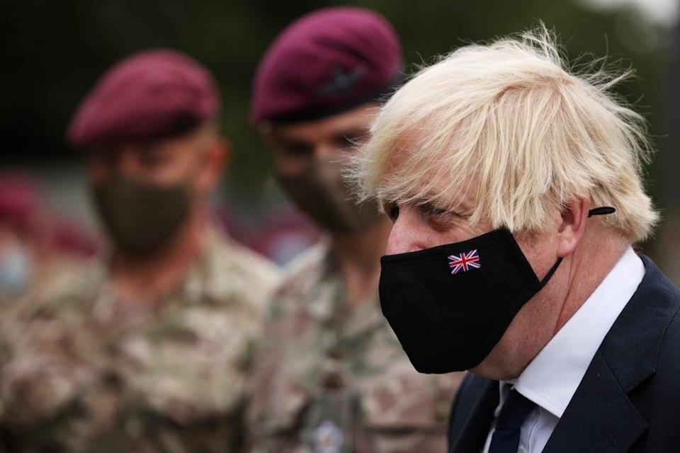 Prime Minister Boris Johnson with members of 16 Air Assault Brigade, following their deployment to Afghanistan (Dan Kitwood/PA) (PA Wire)