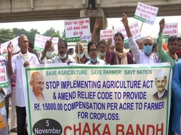 A protest in Odisha against new farm laws