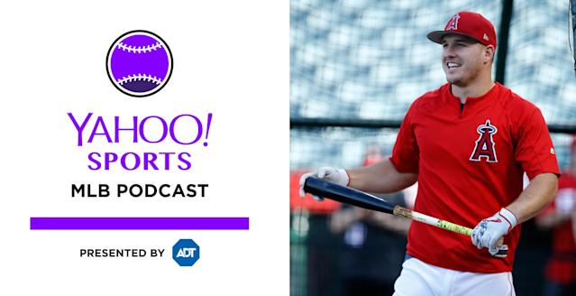 Mike Trout joins the Yahoo Sports MLB podcast this week. (AP)