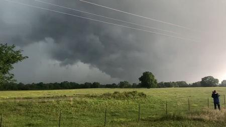 A view of clouds, part of a weather system seen from near Franklin, Texas, U.S., in this still image from social media video