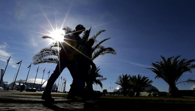 Visitors to the Olympic Park pass by palm trees on a warm sunny dat at the 2014 Winter Olympics, Wednesday, Feb. 12, 2014, in Sochi, Russia. (AP Photo/David J. Phillip )