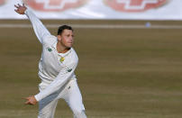 South Africa's George Linde bowls during the third day of the second cricket test match between Pakistan and South Africa at the Pindi Stadium in Rawalpindi, Pakistan, Saturday, Feb. 6, 2021. (AP Photo/Anjum Naveed)