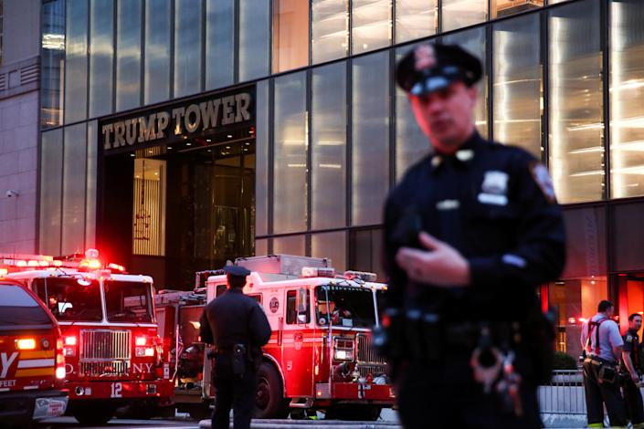 <p>First responders work on a fire in a residential unit at Trump tower in the Manhattan borough of New York City, April 7, 2018. (Photo: Amr Alfiky/Reuters) </p>