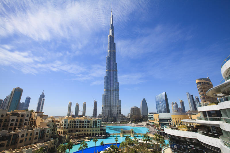 Cityscape with Burj Khalifa, the tallest man made structure in the World at 828 meters, Downtown Dubai, Dubai, United Arab Emirates