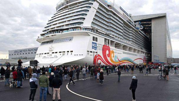 PHOTO: The 334-meter-long cruise ship 'Norwegian Joy' leaving the covered construction dock of the Meyer shipyard in Papenburg, Germany, March 4, 2017.  (Ingo Wagner/picture alliance via Getty Images)