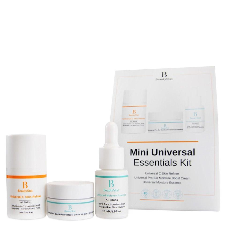 """<h2>BeautyStat Mini Universal Essentials Kit</h2><br>The contents of this kit would turn the biggest skin-care skeptic into a believer. The award-winning vitamin C serum will help brighten and firm your mom's skin with consistent use, and the moisture-boosting essence and moisturizer will keep her skin feeling hydrated and healthy.<br><br><strong>BeautyStat</strong> Mini Universal Essentials Kit, $, available at <a href=""""https://go.skimresources.com/?id=30283X879131&url=https%3A%2F%2Fshop.beautystat.com%2Fproducts%2Fmini-universal-essentials-kit.html%3F_ga%3D2.123848653.6787552.1618257047-1503945179.1618257047"""" rel=""""nofollow noopener"""" target=""""_blank"""" data-ylk=""""slk:BeautyStat"""" class=""""link rapid-noclick-resp"""">BeautyStat</a>"""