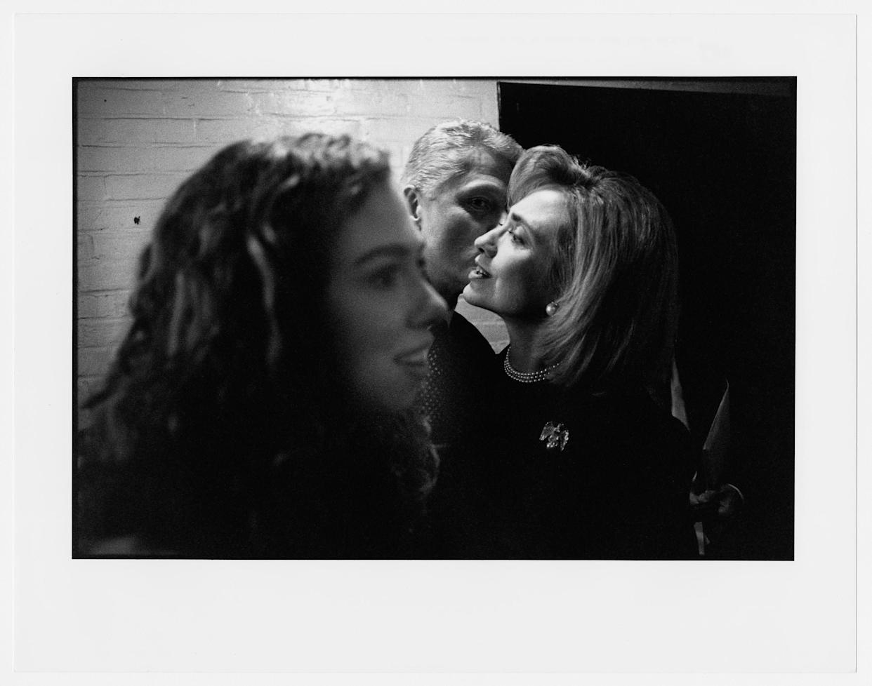 Chelsea, Bill, and Hillary Clinton after the first Clinton-Dole debate in Hartford, Connecticut. October 6, 1996.