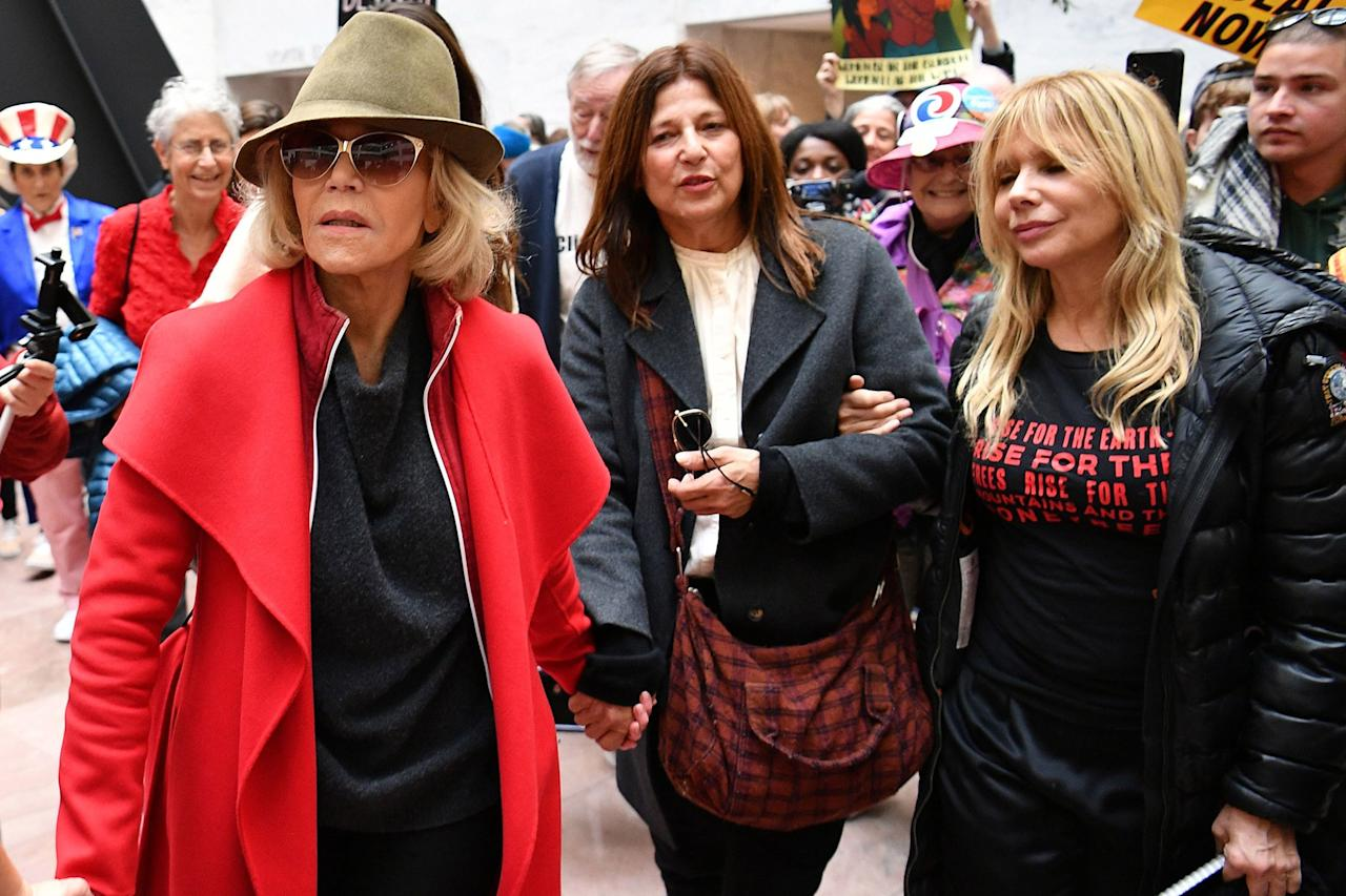 """Actress and activist <a href=""""https://ew.com/tag/jane-fonda/"""">Jane Fonda</a> has committed to showing up at the steps of the U.S. Capitol every Friday through January 2020 to <a href=""""https://ew.com/celebrity/2019/10/11/jane-fonda-arrested-climate-change-protest/"""">stage a demonstration</a> meant to draw awareness to climate change. Fonda has invited her famous friends to join the protest with her until they're eventually arrested. Scroll through to see who has turned up to join her so far."""