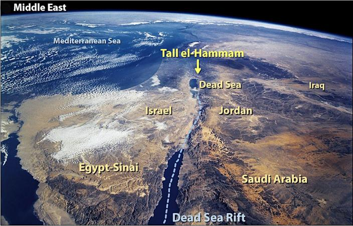 Satellite image showing the area with Tall el-Hammam about 7 miles (12 kilometers) northeast of the Dead Sea