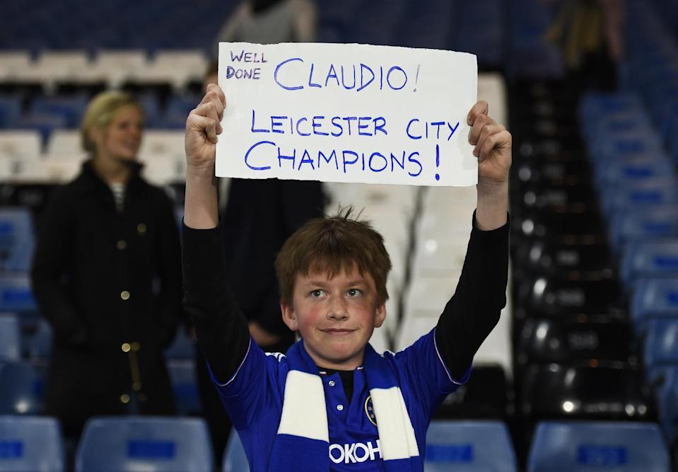 "Britain Football Soccer - Chelsea v Tottenham Hotspur - Barclays Premier League - Stamford Bridge - 2/5/16 A Chelsea fan displays a banner in reference to Leicester City manager Claudio Ranieri Reuters / Dylan Martinez Livepic EDITORIAL USE ONLY. No use with unauthorized audio, video, data, fixture lists, club/league logos or ""live"" services. Online in-match use limited to 45 images, no video emulation. No use in betting, games or single club/league/player publications. Please contact your account representative for further details."