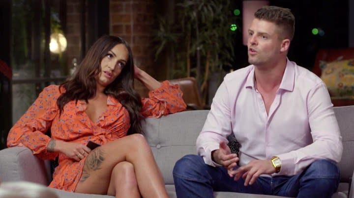 MAFS's David and Hayley on the couch
