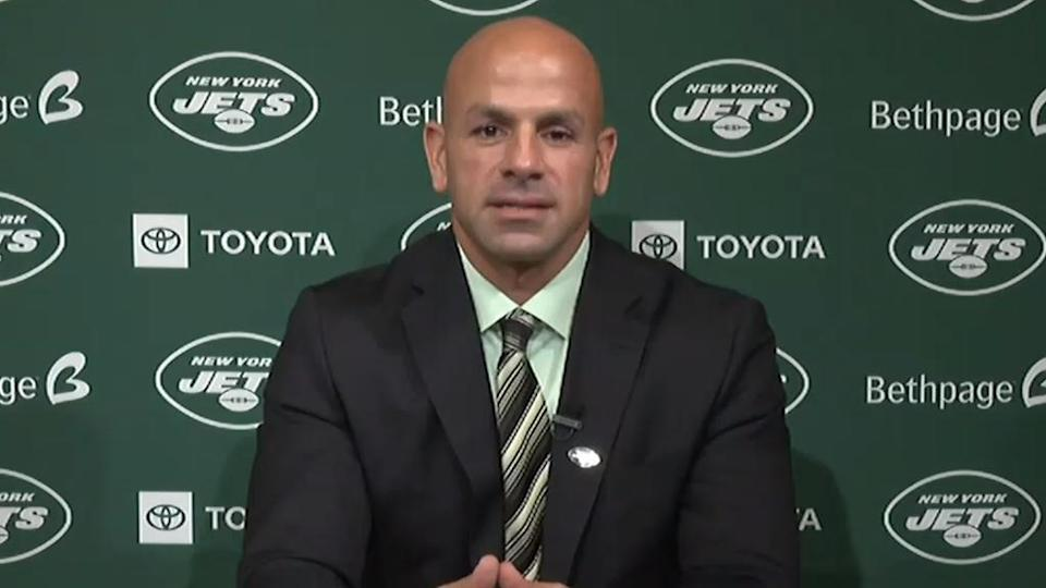 Robert Saleh introductory press conference hands folded