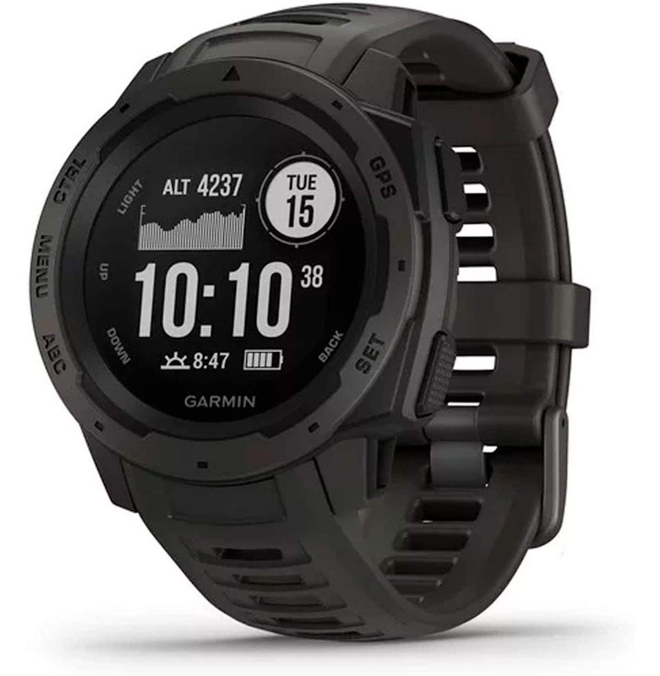 """<p><strong>Garmin</strong></p><p>amazon.com</p><p><strong>$192.98</strong></p><p><a href=""""https://www.amazon.com/dp/B07HYX9P88?tag=syn-yahoo-20&ascsubtag=%5Bartid%7C10054.g.37069847%5Bsrc%7Cyahoo-us"""" rel=""""nofollow noopener"""" target=""""_blank"""" data-ylk=""""slk:Buy"""" class=""""link rapid-noclick-resp"""">Buy</a></p><p>This beast of a Garmin watch taps into three (three!) global navigation systems, so getting lost isn't really an option. Beyond that, it's built to military-approved ruggedness, and it keeps tabs on health, fitness, and smartphone notifications.</p>"""