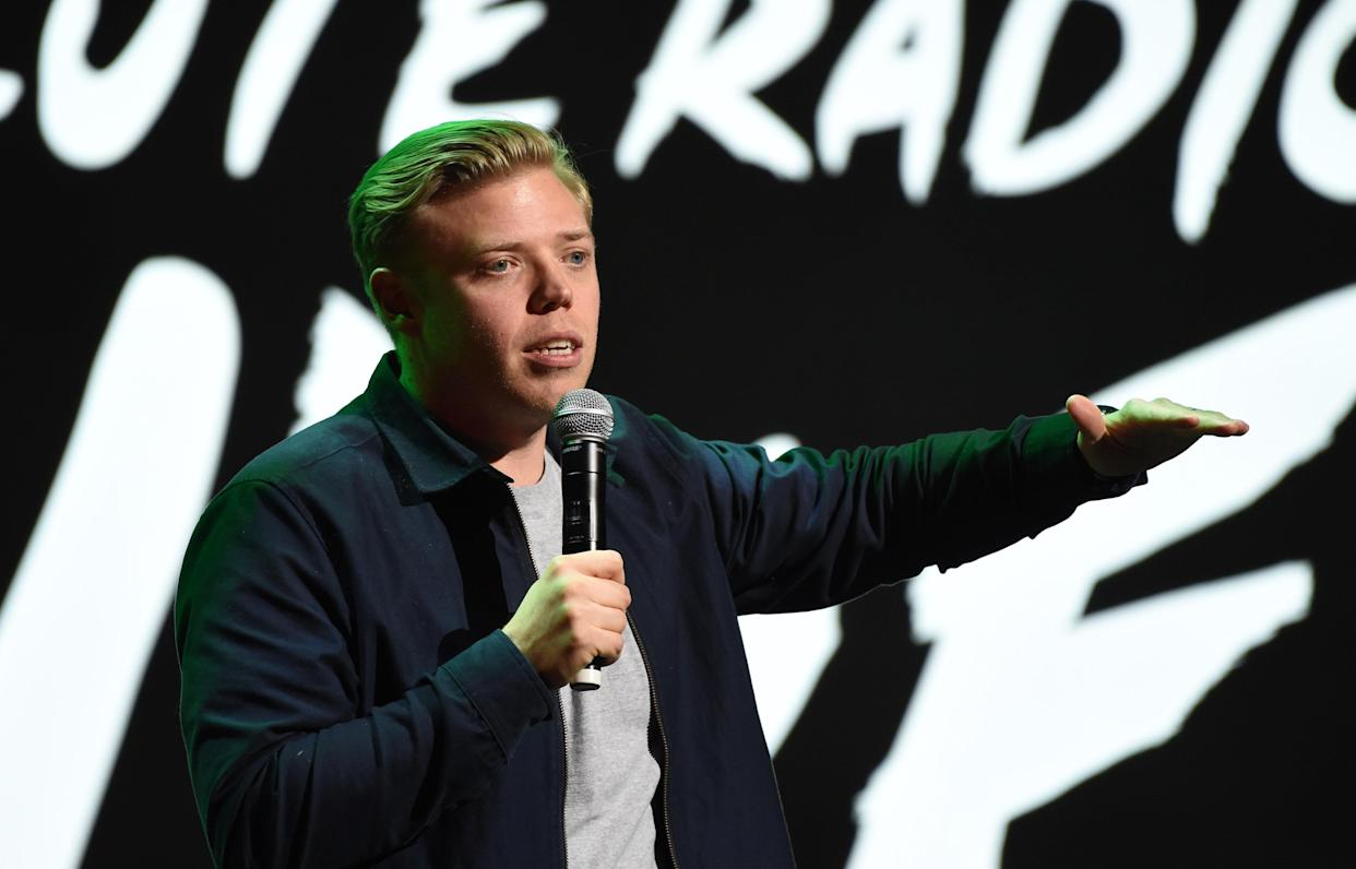 LONDON, ENGLAND - NOVEMBER 25: Rob Beckett performs during  Absolute Radio Live at the London Palladium on November 25, 2018 in London, England. (Photo by Stuart C. Wilson/Getty Images)