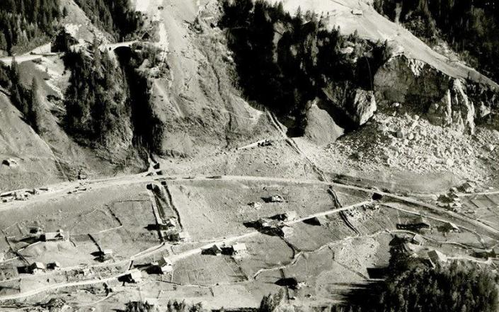 An aerial view shows ammunition depot after the 1947 explosion in Mitholz