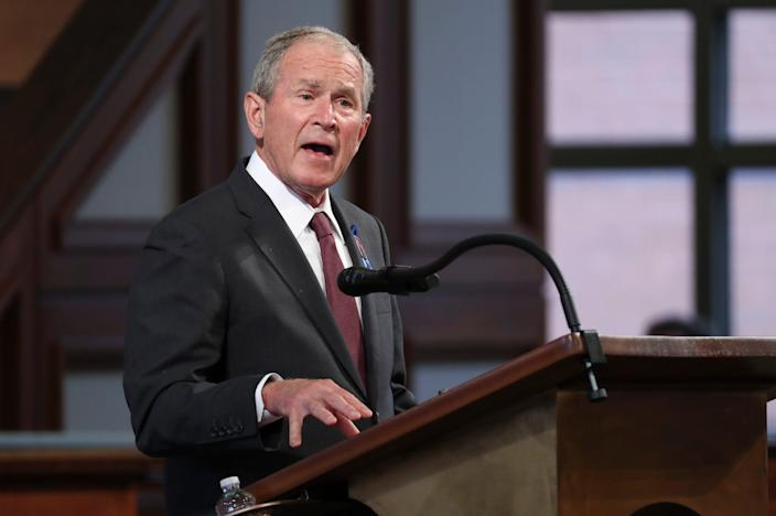 Former President George W. Bush speaks during the funeral service for the late Rep. John Lewis at Ebenezer Baptist Church in Atlanta, July 30, 2020.