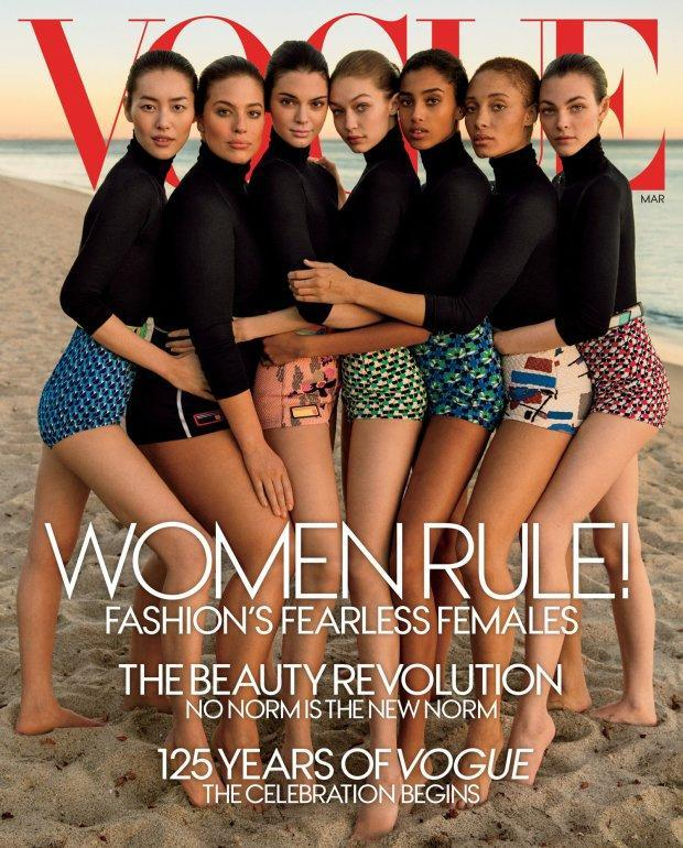 <p>American Vogue's March issue came under scrutiny, as readers accused the publication of Photoshopping Gigi Hadid's arm to make plus-size model Ashley Graham appear slimmer.<br><br>And although this may not be the case, it is interesting to note that Graham is the only woman pictured wearing black bikini bottoms. <em>[Photo: Vogue]</em> </p>