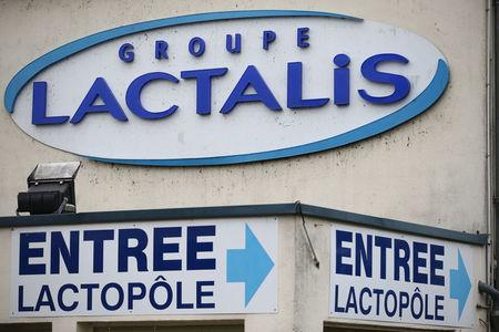 FILE PHOTO: The logo of Lactalis Group is seen at the entrance of the French dairy group Lactalis headquarters in Laval