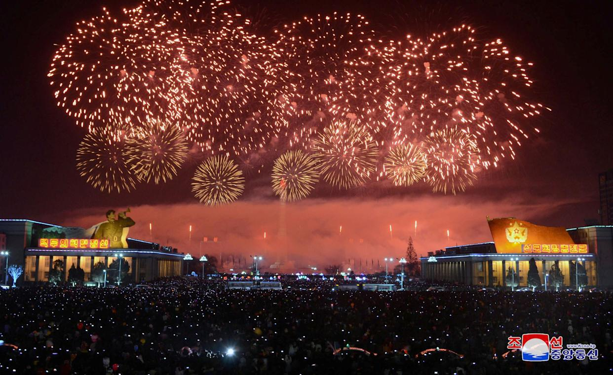 Fireworks are seen during New Year's celebrations in this photo released by North Korea's Korean Central News Agency (KCNA) in Pyongyang on January 1, 2018. (Photo: KCNA KCNA / Reuters)