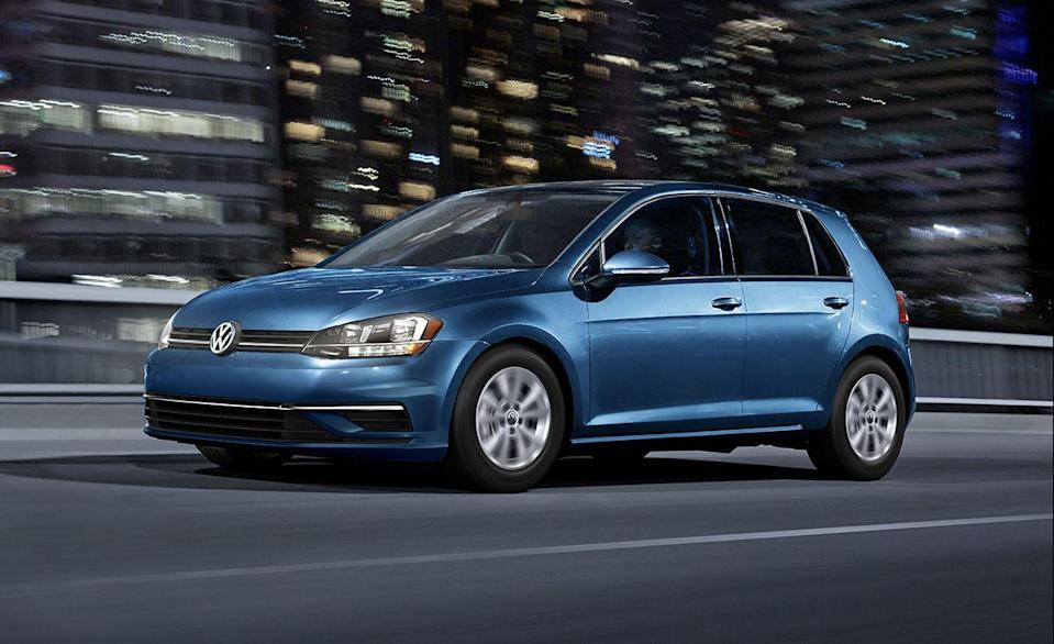 """<p>Fun to drive, affordable, fuel-efficient. The <a href=""""https://www.caranddriver.com/volkswagen/golf"""" rel=""""nofollow noopener"""" target=""""_blank"""" data-ylk=""""slk:Volkswagen Golf"""" class=""""link rapid-noclick-resp"""">Volkswagen Golf</a> gives you all three. The most efficient Golf has a 147-hp turbocharged inline-four and a six-speed manual transmission. It's spacious, too. With the rear seats folded the Golf has 53 cubic feet of cargo room. That's 16 more than when the rear seats are folded in the <a href=""""https://www.caranddriver.com/ford/escape"""" rel=""""nofollow noopener"""" target=""""_blank"""" data-ylk=""""slk:Ford Escape"""" class=""""link rapid-noclick-resp"""">Ford Escape</a>. </p><ul><li>Base price: $24,190</li><li>Fuel Economy EPA combined/city/highway: 33/29/39 mpg (Manual)</li><li>Horsepower: 147 hp</li></ul><p><a class=""""link rapid-noclick-resp"""" href=""""https://www.caranddriver.com/volkswagen/golf/specs"""" rel=""""nofollow noopener"""" target=""""_blank"""" data-ylk=""""slk:MORE GOLF SPECS"""">MORE GOLF SPECS</a></p>"""