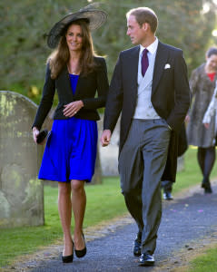 An engaged William and Kate attend a friend's wedding before their own engagment is announced in October 2010