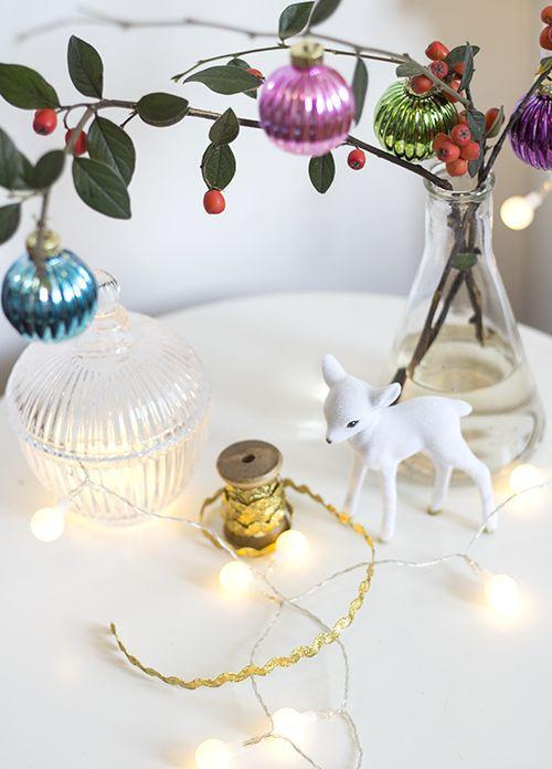"<p>Place a few branches of holly inside of a vase and then add a pop of color with bright ornaments.</p><p>See more at <a href=""http://thelovelydrawer.com/styling-the-seasons-december/"" rel=""nofollow noopener"" target=""_blank"" data-ylk=""slk:The Lovely Drawer"" class=""link rapid-noclick-resp"">The Lovely Drawer</a>. </p>"