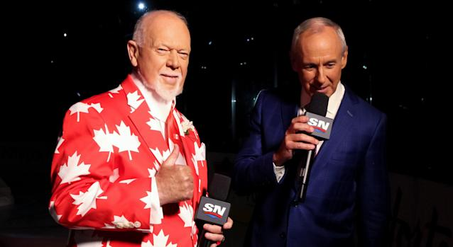 Ron MacLean, seen here with Don Cherry during the World Cup of Hockey in 2016, was very open while a guest on a recent episode of the Spittin' Chiclets podcast. (Photo by Andre Ringuette/World Cup of Hockey via Getty Images)