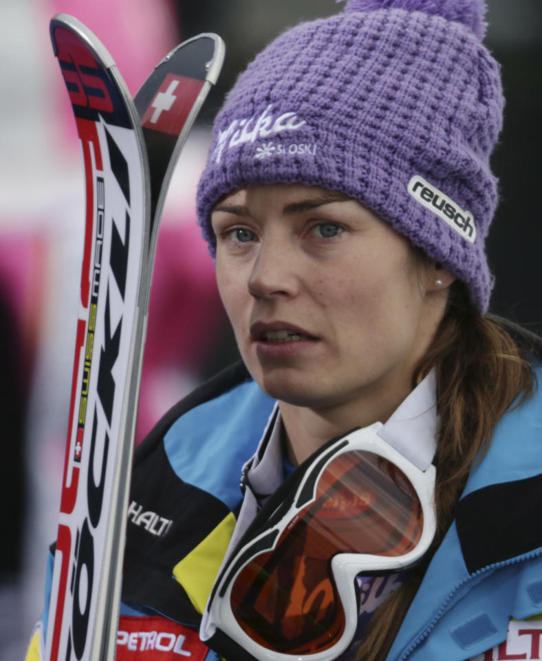 Slovenia'sTina Maze reacts after learning that United States' LindseyVonn crashed during the women's super-G at the Alpine skiing world championships in Schladming, Austria, Tuesday, Feb.5,2013. (AP Photo/Matthias Schrader)