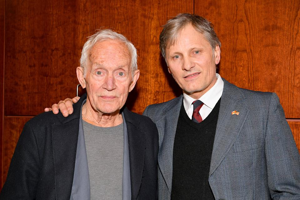 "PARK CITY, UTAH - JANUARY 23: Lance Henriksen and Viggo Mortensen attend UTA Independent Film Group and Hanway host a Private Screening of ""Falling"" with Viggo Mortensen and Lance Henricksen during the 2020 Sundance Film Festival at Library Center Theater on January 23, 2020 in Park City, Utah. (Photo by Dia Dipasupil/Getty Images)"